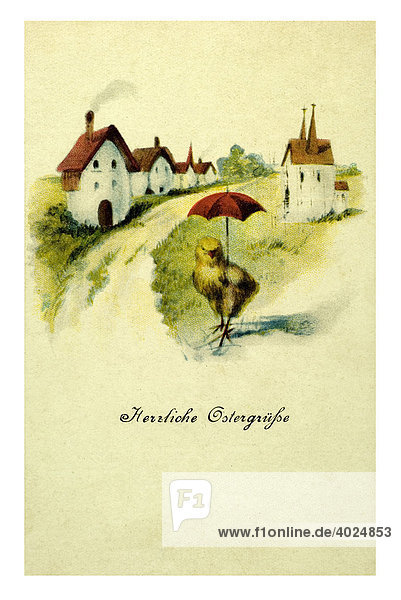 Historische Ostergrußkarte  Küken mit rotem Schirm vor einem Dorf  Herzliche Ostergrüße Historische Ostergrußkarte, Küken mit rotem Schirm vor einem Dorf, Herzliche Ostergrüße