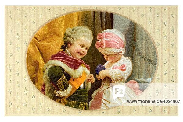 Valentin Grusskarte Kinderpaar im Rokoko Kostüm  Junge und Märchen verkleidet im Kostüm mit Perrücke Schärpe und höfischer Kleidung