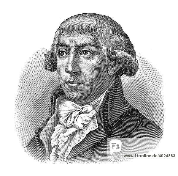 Holzschnitt  Gottfried August Bürger  Portrait