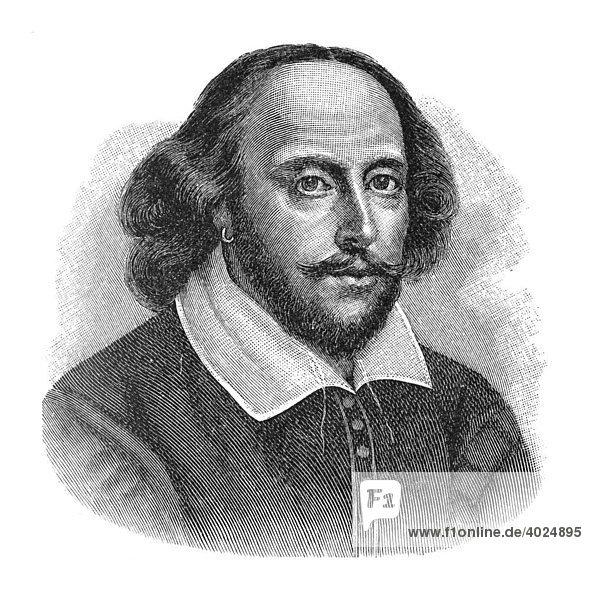 Holzschnitt  William Shakespeare  Portrait