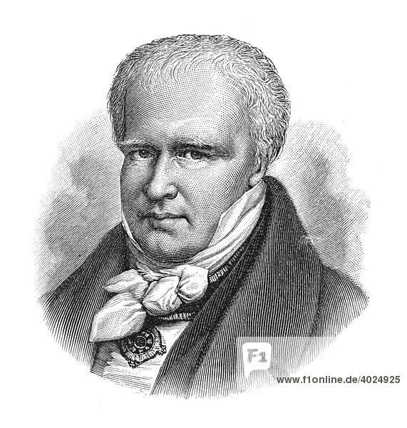 Holzschnitt  Friedrich Wilhelm Heinrich Alexander von Humboldt  Freiherr von  Portrait