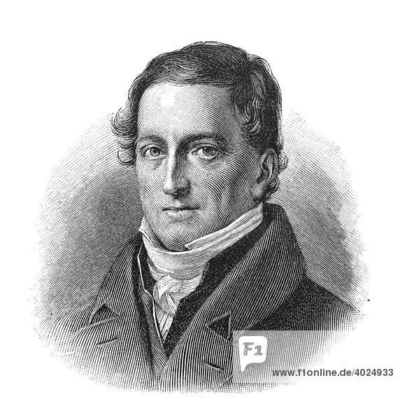 Holzschnitt  Johann Friedrich Herbart  Portrait
