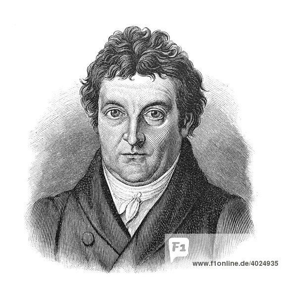 Holzschnitt  Johann Gottlieb Fichte  Portrait