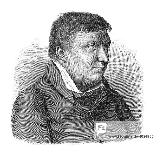 Holzschnitt  Karl Wilhelm Friedrich von Schlegel  Portrait