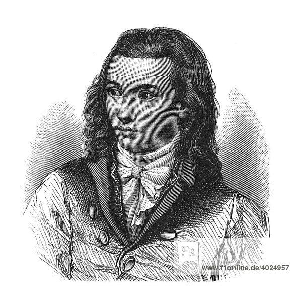Holzschnitt  Novalis  eigentlich Georg Friedrich Philipp Freiherr von Hardenberg  Portrait