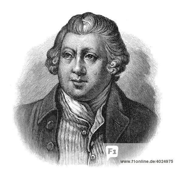 Holzschnitt  Sir Richard Arkwright  Portrait