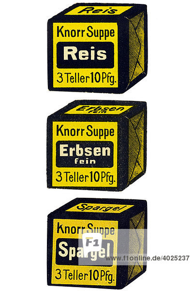 Reklamemarke  Knorr Suppe Reis 3 Teller 10 Pfg.  Knorr Suppe Erbsen 3 Teller 10 Pfg.  Knorr Suppe Spargel 3 Teller 10 Pfg.