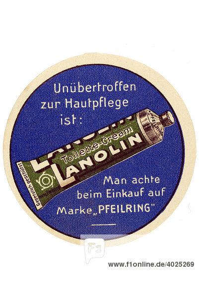 Historische Werbeillustration  Unübertroffen zur Hautpflege ist Lanolin Toilette-Cream Historische Werbeillustration, Unübertroffen zur Hautpflege ist Lanolin Toilette-Cream