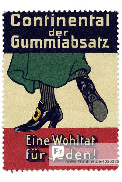 Reklamemarke  Continental der Gummiabsatz  Eine Wohltat für jeden Reklamemarke, Continental der Gummiabsatz, Eine Wohltat für jeden