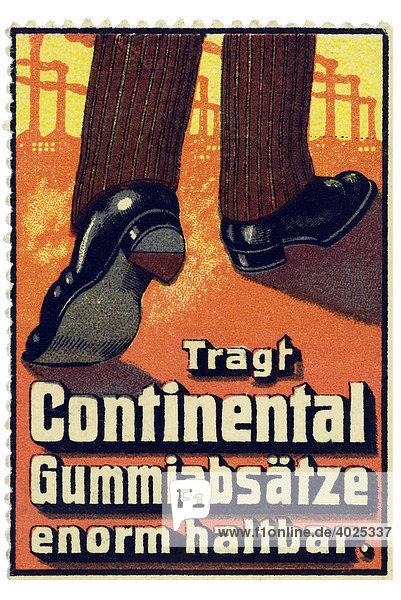 Reklamemarke  Tragt Continental Gummiabsätze  enorm haltbar Reklamemarke, Tragt Continental Gummiabsätze, enorm haltbar