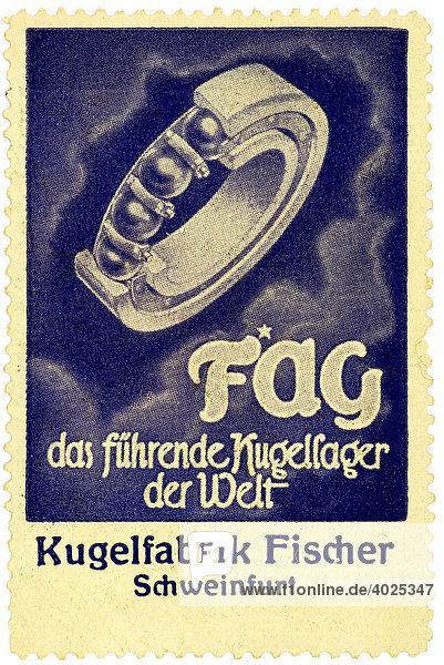 Reklamemarke  FAG das führende Kugellager der Welt  Kugelfabrik Fischer Schweinfurt Reklamemarke, FAG das führende Kugellager der Welt, Kugelfabrik Fischer Schweinfurt