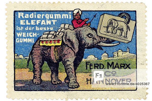 Historische Reklamemarke  Radiergummi Elefant ist der beste Weichgummi  Ferd. Marx & Co Hannover Historische Reklamemarke, Radiergummi Elefant ist der beste Weichgummi, Ferd. Marx & Co Hannover