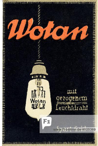 Historische Reklame  Wotan mit gezogenem Leuchtdraht  Spart Geld  Glühbirne Historische Reklame, Wotan mit gezogenem Leuchtdraht, Spart Geld, Glühbirne