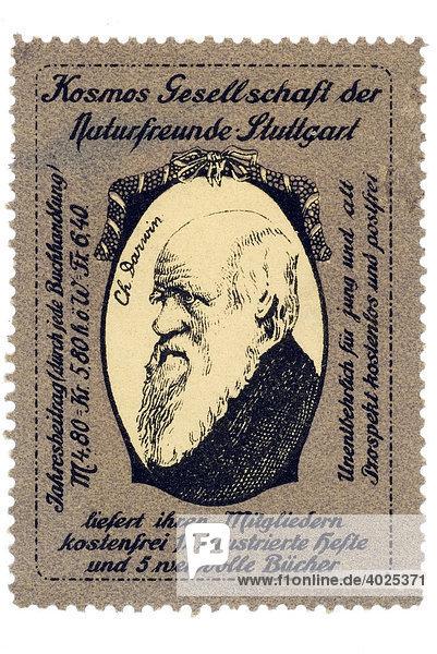 Historische Reklamemarke  Portrait Charles Darwin  Kosmos Gesellschaft der Naturfreunde Historische Reklamemarke, Portrait Charles Darwin, Kosmos Gesellschaft der Naturfreunde
