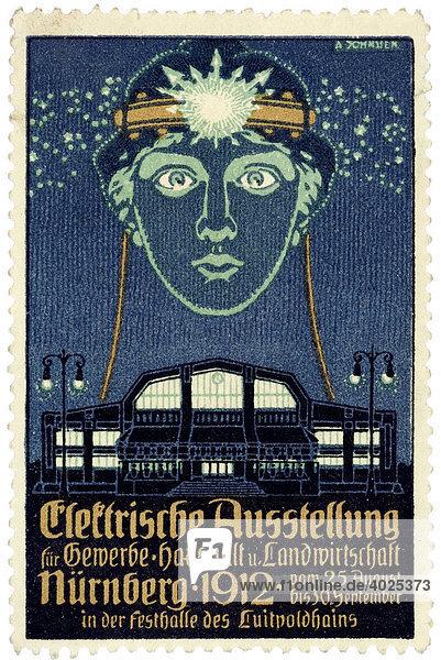 Historische Reklame  Elektrische Ausstellung für Gewerbe  Haushalt und Landwirtschaft  Nürnberg 1912 Historische Reklame, Elektrische Ausstellung für Gewerbe, Haushalt und Landwirtschaft, Nürnberg 1912