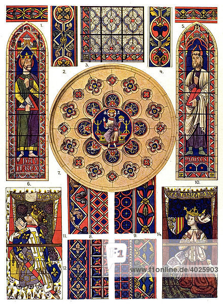 Early Gothic glass painting 13th century  Middle Ages  medieval ornament in France