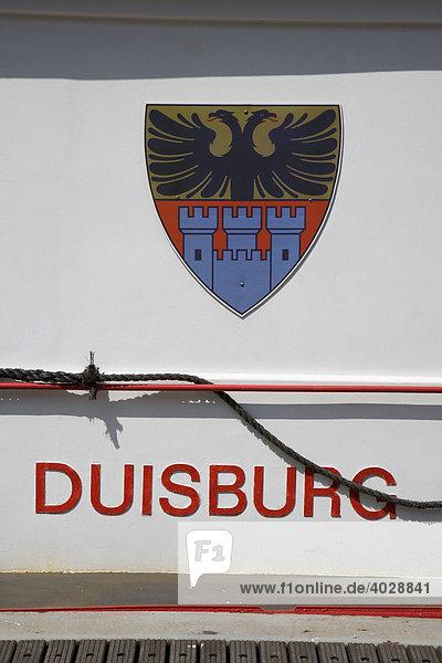 Wappen  Fahrgastschiff Duisburg  Innenhafen  Duisburg  Nordrhein-Westfalen  Deutschland  Europa Wappen, Fahrgastschiff Duisburg, Innenhafen, Duisburg, Nordrhein-Westfalen, Deutschland, Europa,