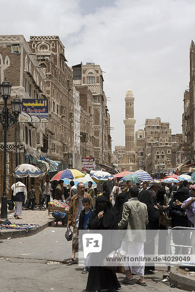 Souk in the historic centre of San'a'  UNESCO World Heritage Site  Yemen  Middle East