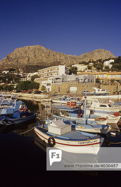 Harbour of Masouri  in the West of Kalymnos Island  Greece  Europe