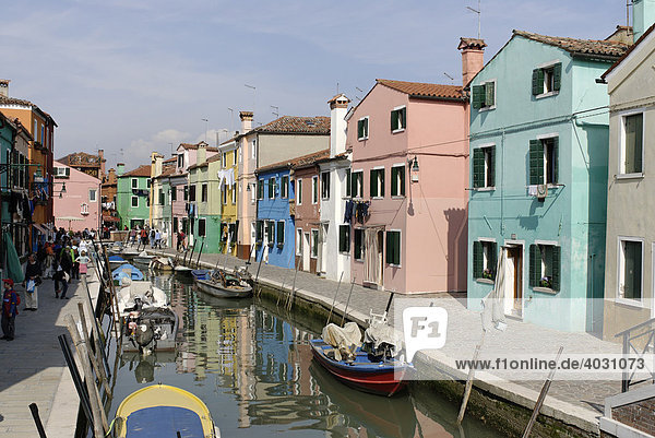 Colourfully painted houses along a canal in Burano  an island in the Venetian Lagoon  Italy  Europe