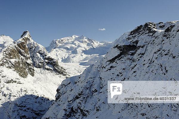 Vom Trockenen Steg auf den Gorner Gletscher  Zermatt  Wallis  Schweiz  Europa