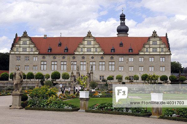 Schloss mit Schlossgarten  Renaissance  Hohenlohe  Main Tauber Kreis  Weikersheim  Baden-Württemberg  Deutschland  Europa