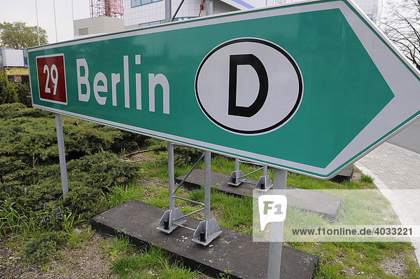 Road sign pointing towards Berlin  Stubice  Poland  Europe