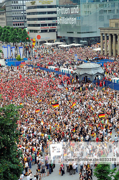 The 2008 UEFA European Football Championship  Public Viewing  Schlossplatz Square  on the right of the picture the Koenigsbau-Passages  Stuttgart  Baden-Wuerttemberg  Germany  Europe