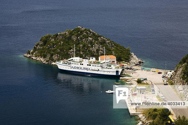 Ferry in Sobra ferry port,  Mljet Island,  Dubrovnik-Neretva,  Dalmatia,  Croatia,  Europe