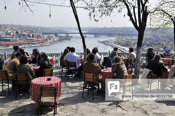 View from Café Pierre Loti towards the historic centre of Istanbul  Istanbul  Turkey