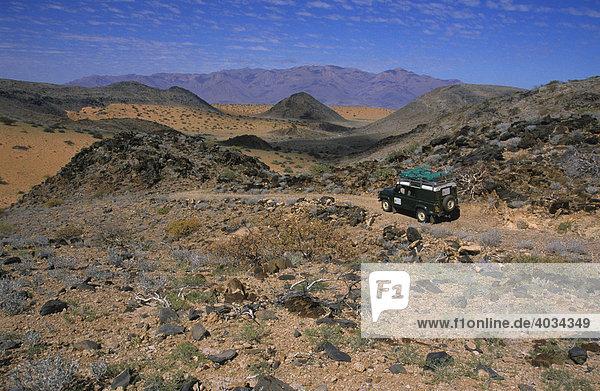 Landrover in steiniger Wüstenlandschaft  dahinter der Brandberg  bei Uis  Namibia  Afrika