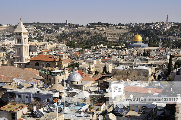 View of the historic centre of Jerusalem with the Dome of Rock  Israel  Near East  Orient