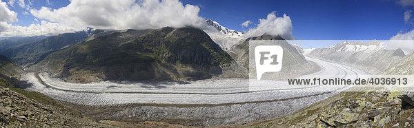 Panorama Aletschgletscher  Wallis  Schweiz  Europa