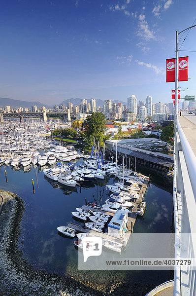 Motor boats at the docks at Fishermen's Wharf  Granville Island  False Creek  Vancouver  British Columbia  Canada  North America