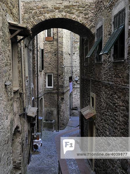 Gasse in Dolceacqua  Ligurien  Riviera dei Fiori  Italien  Europa