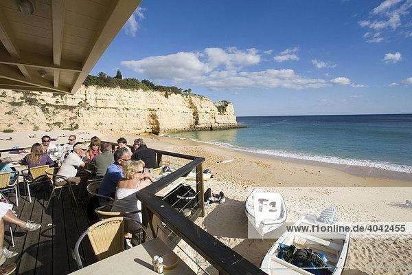 Beach restaurant on Praia Senhora da Rocha  Armacao de Pera  Algarve  Portugal  Europe