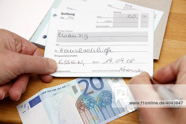 Money and receipt for the fee of a domestic help in a private household