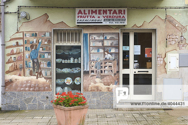 Mural art on a grocery store in Telti  Sardinia  Italy  Europe
