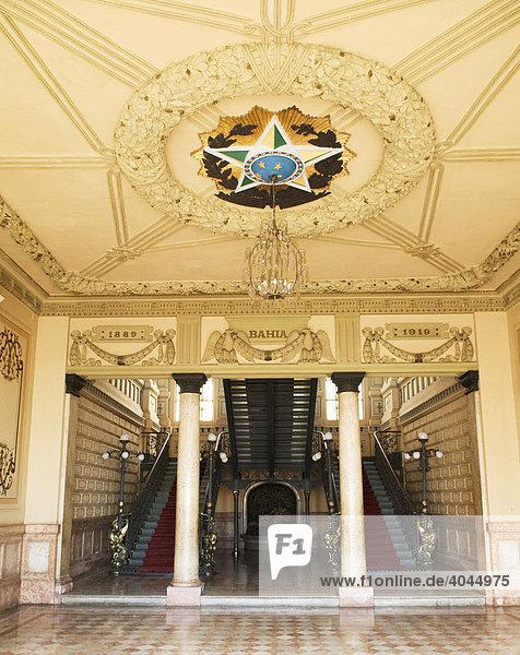 Eingangshalle Palacio Rio Branco  ehemaliger Sitz des Gouverneurs  Bahia  Brasilien  Südamerika