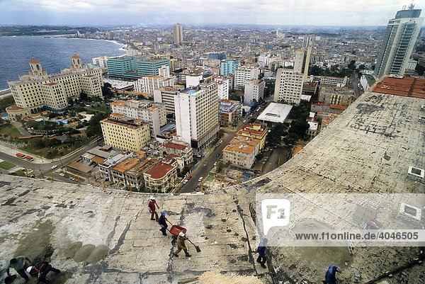 Panoramic view from the Le Torre Restaurant  multistory buildings in Vedado  Nacional Hotel  workmen reconstructing the roof  Vedado  Havana  Cuba  Caribbean