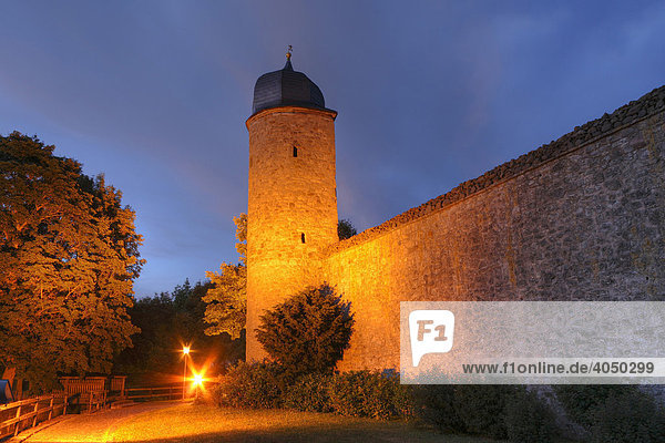 Illuminated Tower on the City Wall in Fladungen  Rhoen  Lower Franconia  Bavaria  Germany  Europe