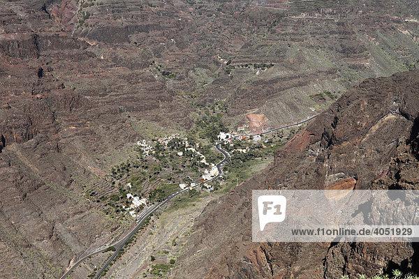 El Guro im Valle Gran Rey  Blick von Las Pilas  La Gomera  Kanaren  Kanarische Inseln  Spanien  Europa