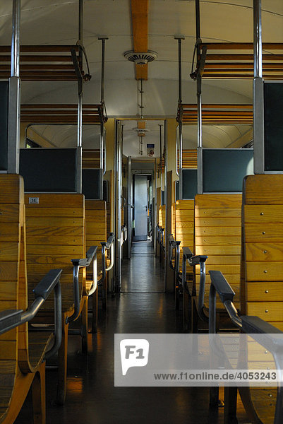 Interior view of a historic second class carriage  also known as Holzabteilung or wooden compartment
