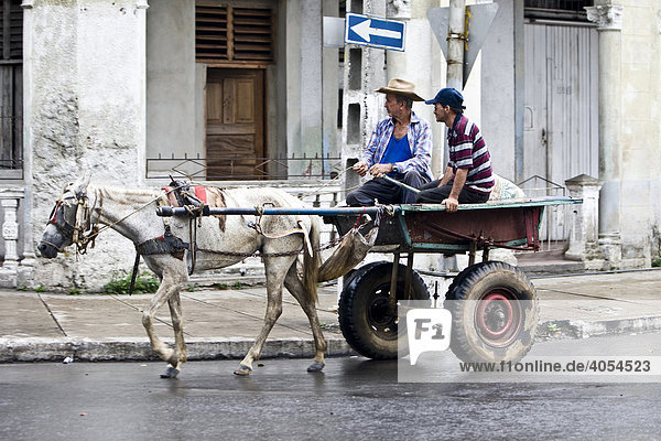 Horse carriage  city of Pinal del Rio  Province of Pinar del Rio  Cuba  Caribbean