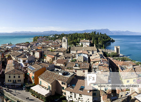 Panoramic view over the historic centre of Sirmione with the Santa Maria Maggiore Church  facing north  Lake Garda at back  Lago di Garda  Lombardy  Italy  Europe