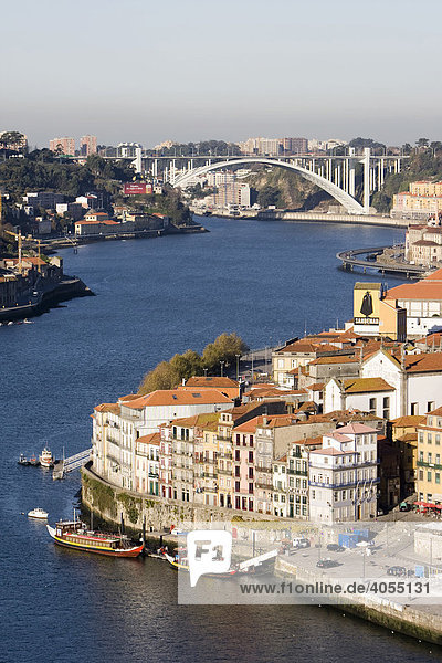 View of the historic centre of Porto with the Rio Duoro River from the Vila Nova de Gaia quarter  at back the Ponte de Arr·bida Bridge  Porto  UNESCO World Cultural Heritage Site  Portugal  Europe