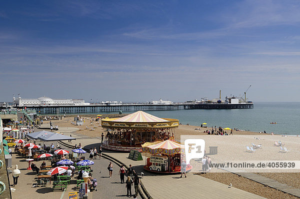 Pier and beach in Brighton  East Sussex  England  Great Britain  Europe
