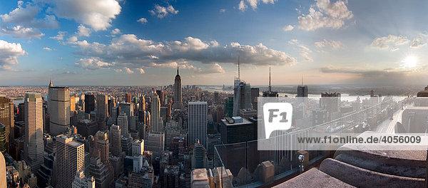 Panorama of Manhattan from Rockefeller Center  New York City  New York  USA  North America