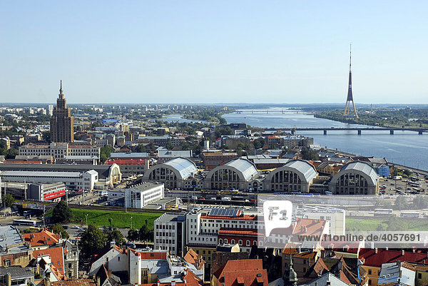 View from the St. Peter's Cathedral on the Central Market  Centraltirgus  the Daugava  Duena river and the television tower  Riga  Latvia  Baltic States  Northeast Europe