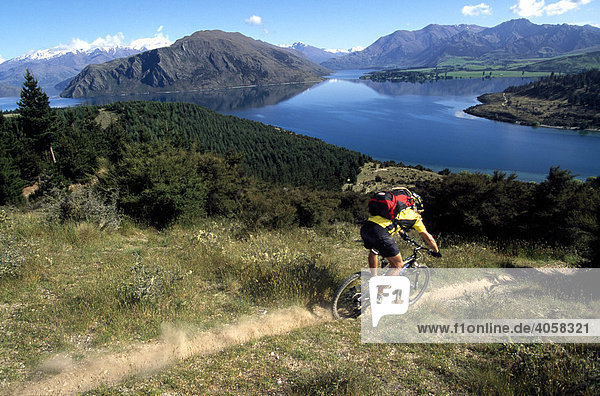 Mountainbiker  Fishermen's Track  Lake Wanaka  South Island  New Zealand
